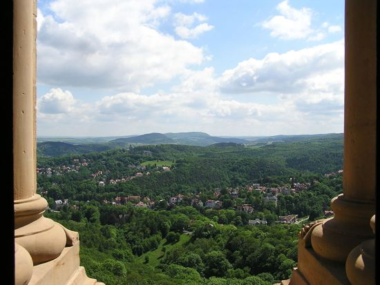 View of the town of Eisenach from Wartburg Castle