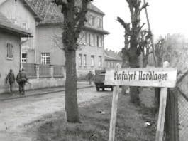 Entrance to Nordlager, Oflag 13b, in 1945, at Lager Hammelburg