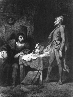 Faust and Mephistopheles, black and white drawing