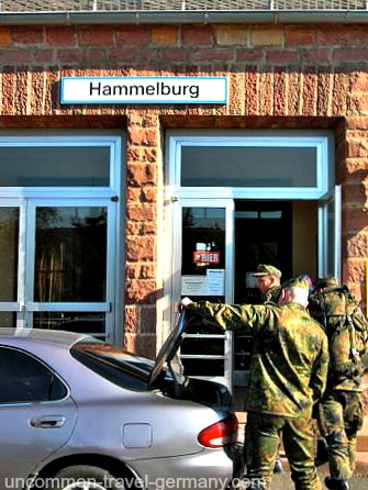 German soldiers outside Hammelburg Bahnhof