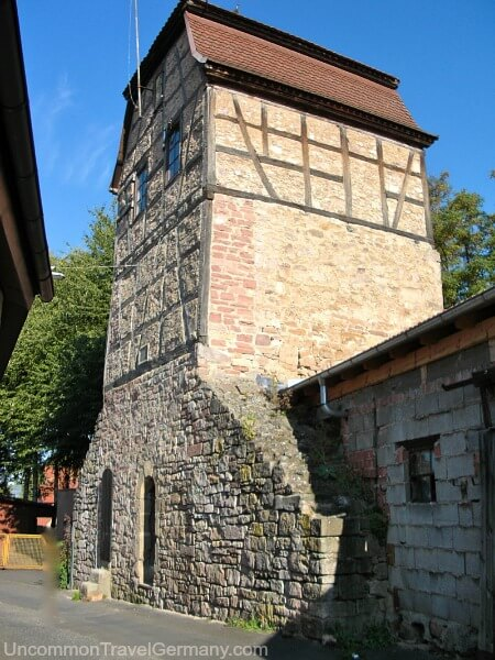 Medieval town wall and tower in Hammelburg Germany