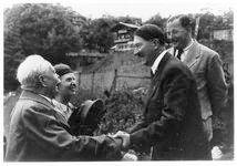 Hitler greeting man in Berghof driveway, Hotel zum Turken above