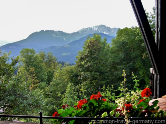 View of mountains from balcony, Hotel zum Turken, Obersalzberg Germany