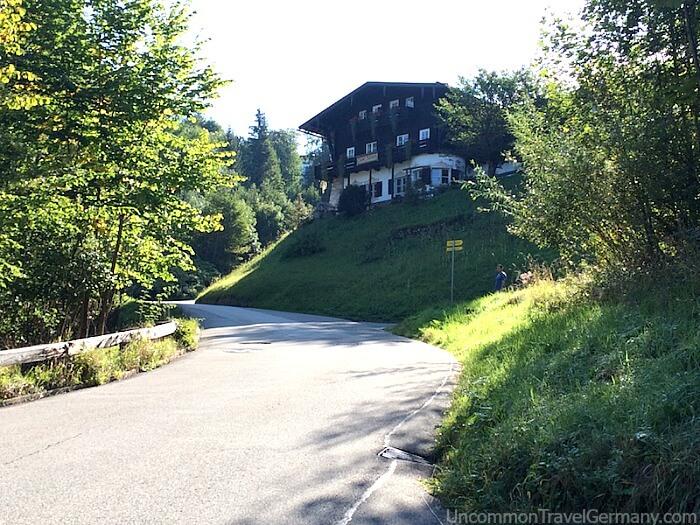 Hotel zum Turken above road, from Berghof driveway