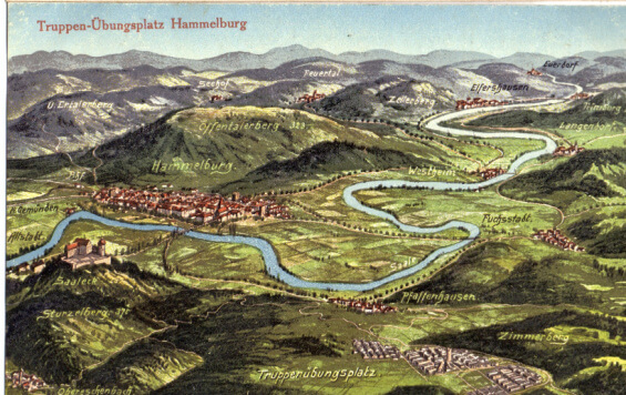 Postcard of Lager Hammelburg and town in 1917
