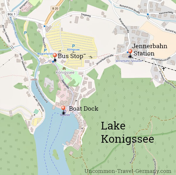 Map of dock area at Lake Konigssee, near Berchtesgaden, with bus stop and Jennerbahn Station