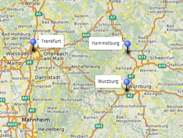 Map of Germany with location of Hammelburg shown