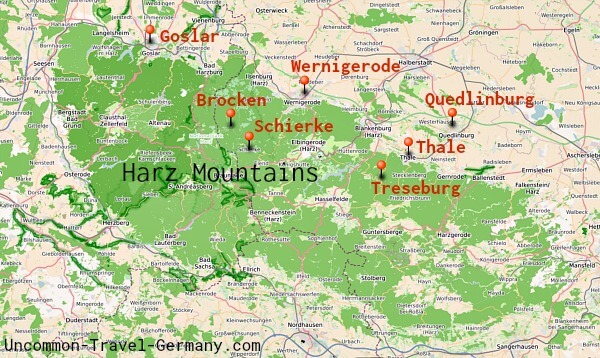 Map of the Harz Mountains, towns marked