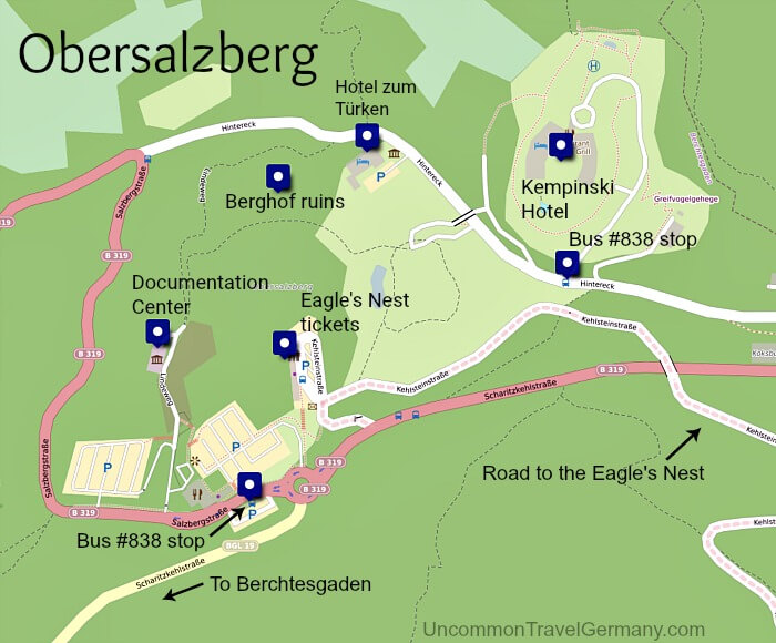 Map of Obersalzberg buildings and bus stops