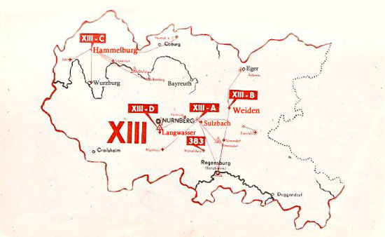 Map of the Stalag 13, or Stalag XIII, POW camps in Germany during WW2