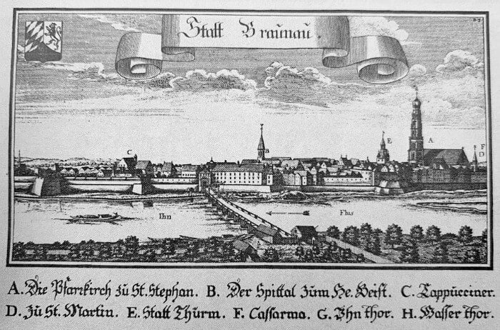 Old drawing of Braunau am Inn