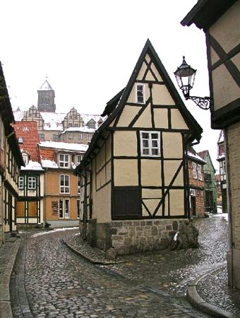 Finkenherd House in winter, Quedlinburg, Harz, Germany