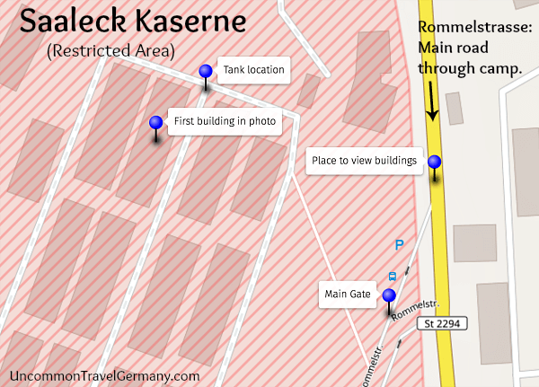 Map showing location of surviving barracks from Stalag 13 POW camp