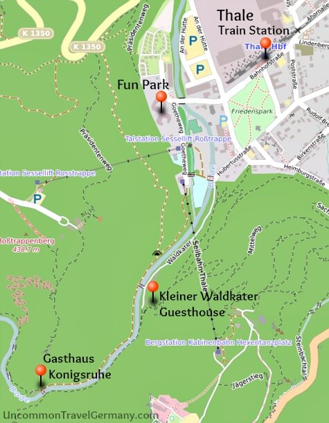 Map of Thale, Germany, and nearby hotels and attractions