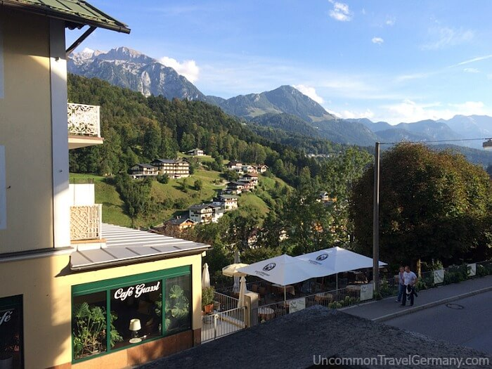 View of mountains from Hotel Wittelsbach, Berchtesgaden, Germany