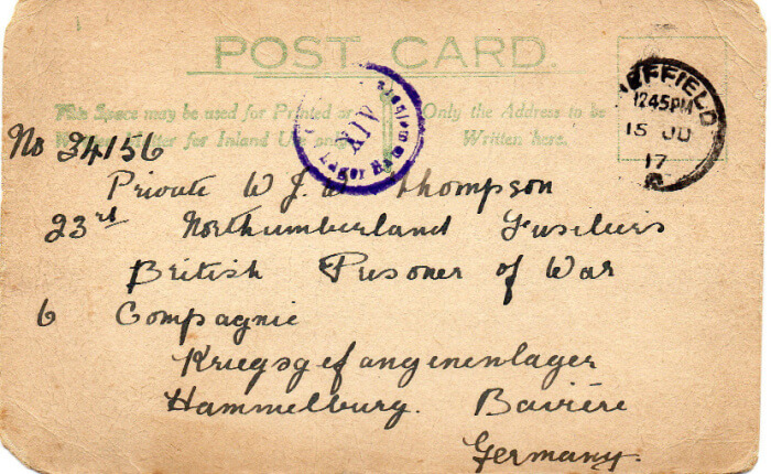 Address of postcard sent to English POW Walter Thompson WWI Lager Hammelburg stamp