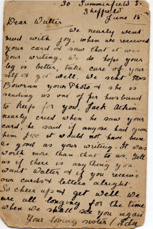 Letter to POW Walther Thompson, Lager Hammelburg WWI