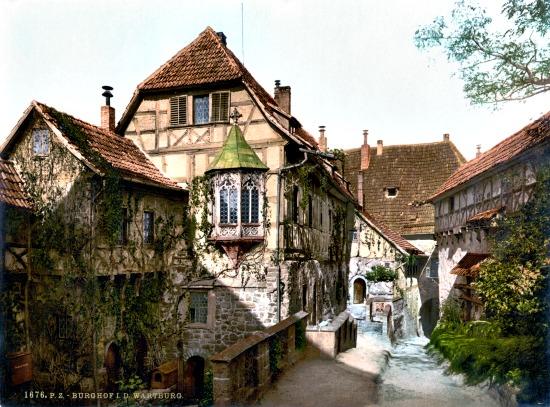 Wartburg Castle courtyard around 1900, postcard