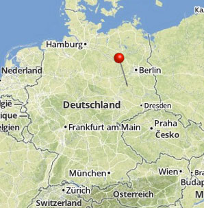 Map of Germany with pin on Wittenberg