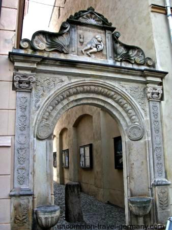 Entrance archway to Wittenberg University, Germany